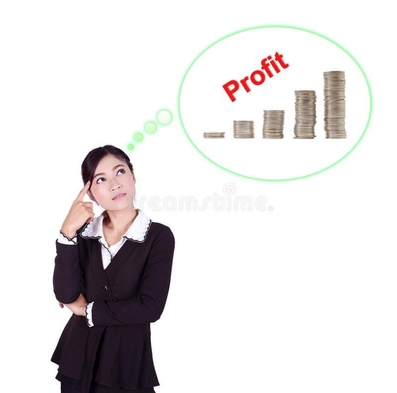 Mulher de negócio que pensa sobre o lucro e o gráfico da moeda imagens de stock