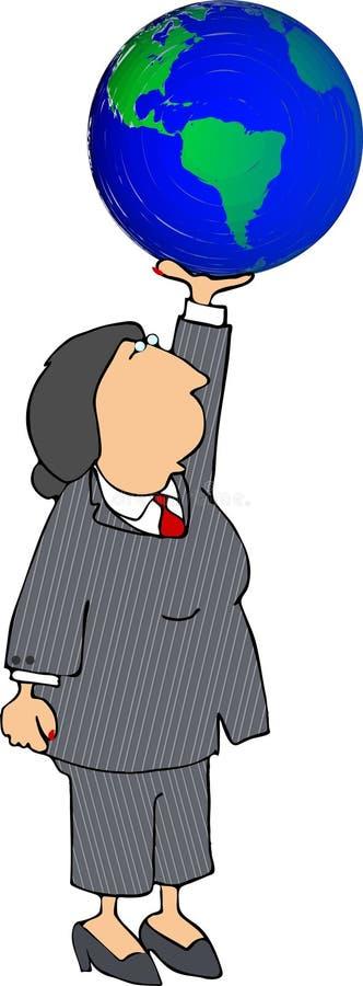 Mulher de negócio que prende a terra ilustração stock