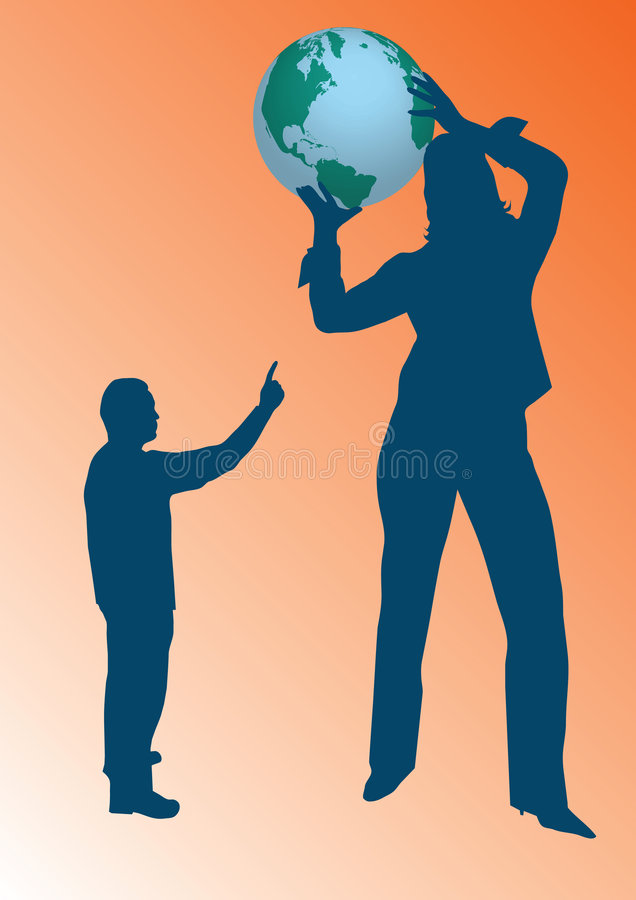Mulher de negócio que prende um globo ilustração stock