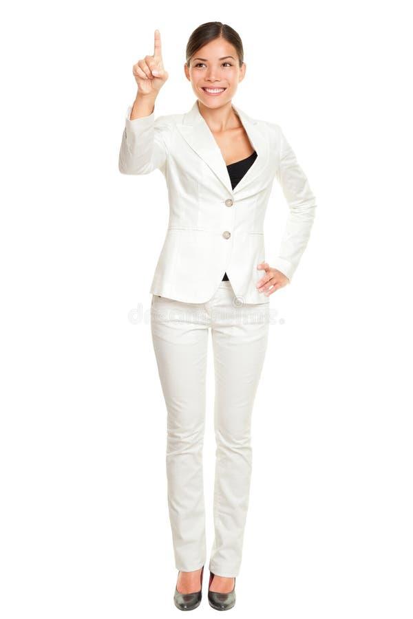 Mulher de negócio que pressiona a tecla imagens de stock