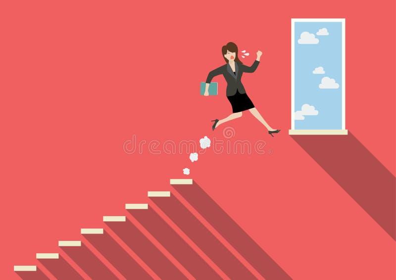 Mulher de negócio que salta ao sucesso ilustração royalty free