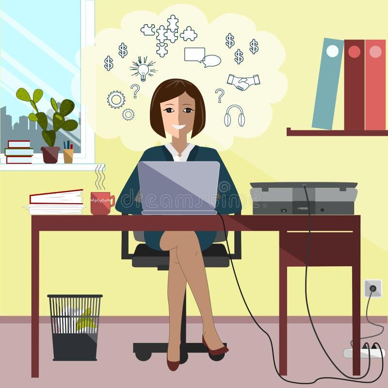Mulher de negócio que senta-se no laptop de trabalho da mesa Ilustração do vetor ilustração stock