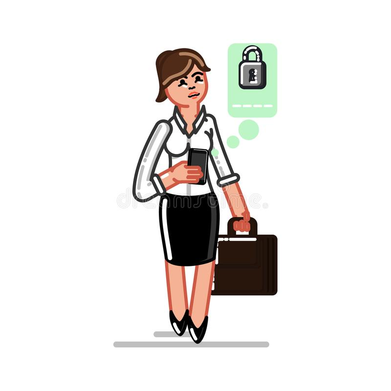 Mulher de negócio que seting acima de um pasword ilustração do vetor