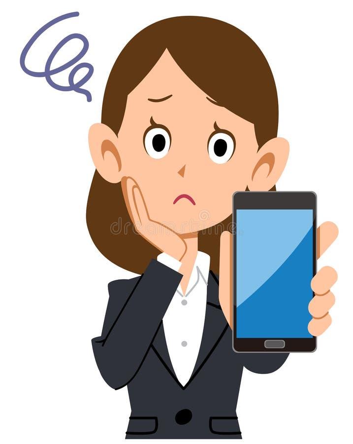 Mulher de negócio que tem o problema com smartphone ilustração royalty free