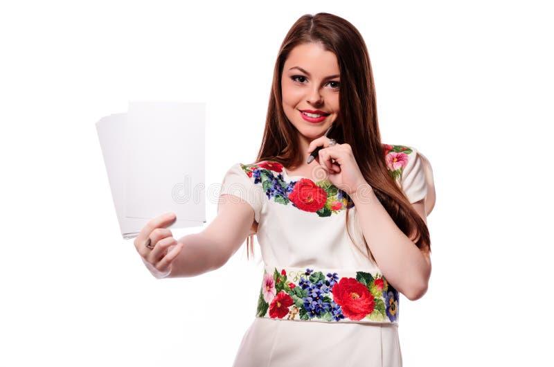 Mulher de negócio que tem uma boa ideia - isolada sobre um backgr branco fotos de stock