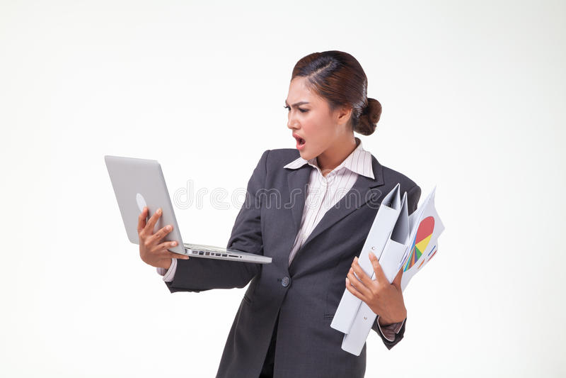 Mulher de negócio que trabalha duramente fotografia de stock