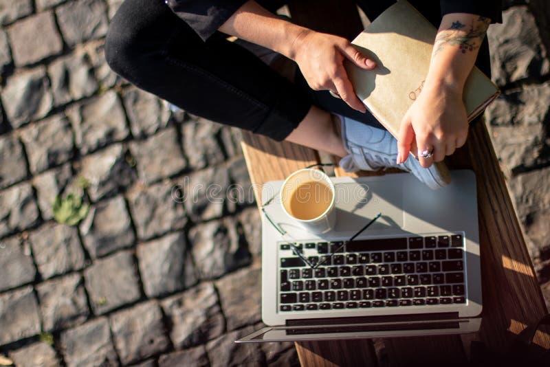 A mulher de negócio que trabalha em um parque senta-se em um banco com café e um portátil Vista de acima imagem de stock