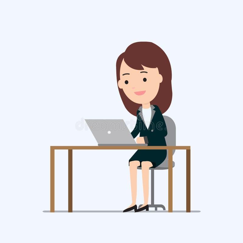 Mulher de negócio que trabalha no portátil e na tabela ilustração royalty free