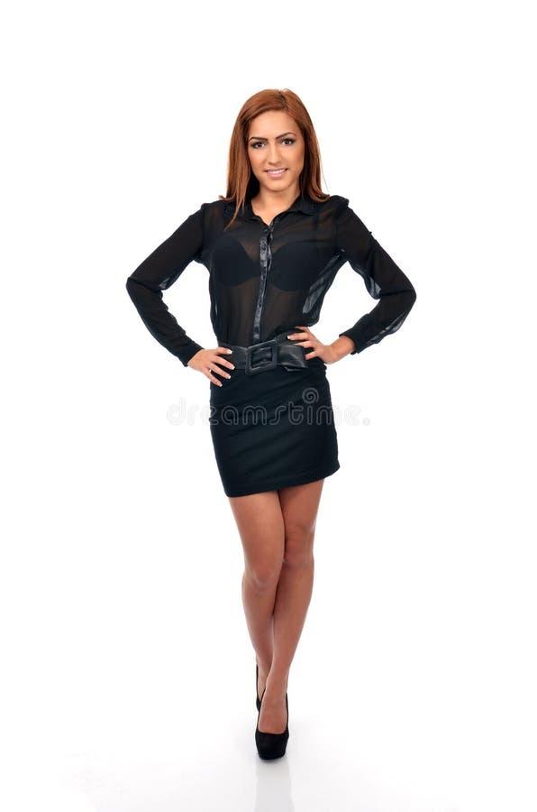 Mulher de negócio segura na pose completa do comprimento imagem de stock