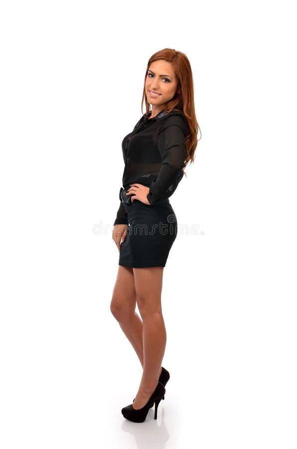 Mulher de negócio segura na pose completa do comprimento imagens de stock