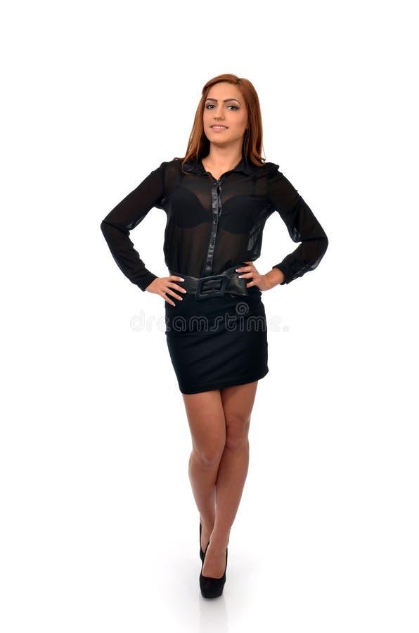 Mulher de negócio segura na pose completa do comprimento foto de stock royalty free