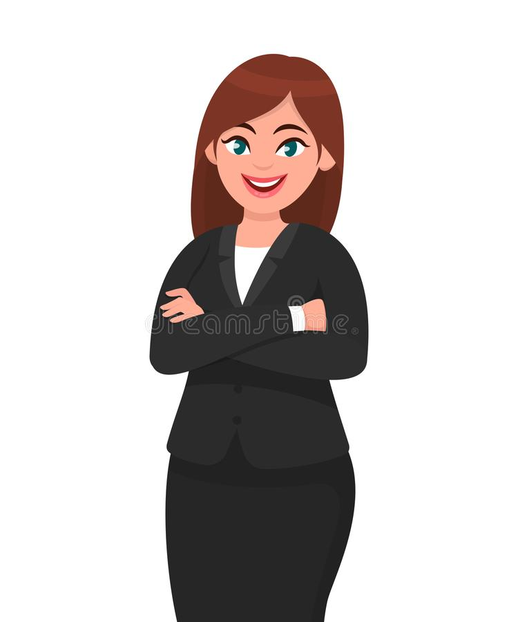 A mulher de negócio de sorriso bonita que mostra os polegares levanta o sinal/gesto Como, concorde, aprove, positivo ilustração royalty free