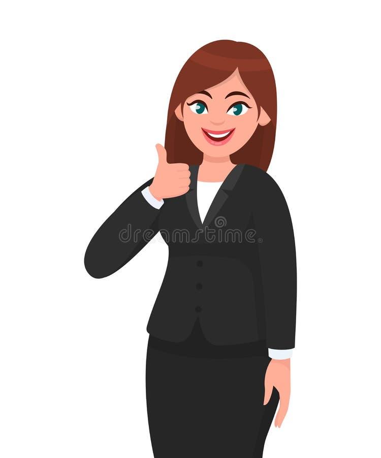 A mulher de negócio de sorriso bonita que mostra os polegares levanta o sinal/gesto Como, concorde, aprove, positivo ilustração do vetor