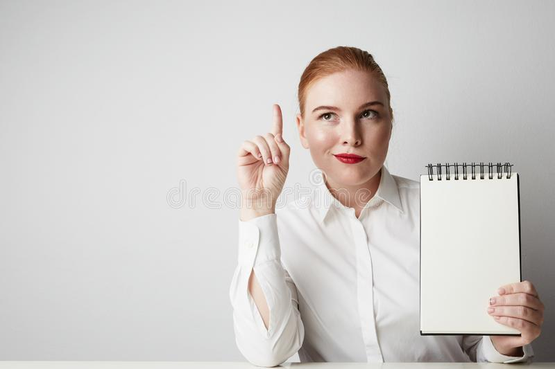 Mulher de negócio de sorriso do ruivo que levanta na camisa que guarda o bloco de notas vazio sobre o fundo branco foto de stock royalty free