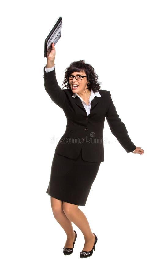 Mulher de negócio superior de dança com tablet pc imagens de stock royalty free