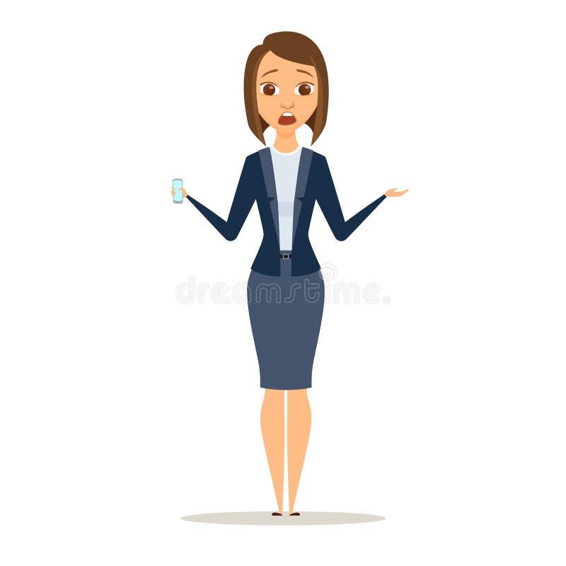 A mulher de negócio surpreendida mostra o telefone ilustração royalty free