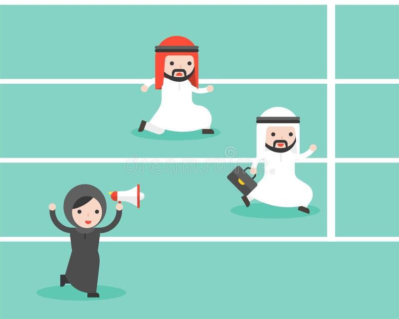 Mulher de negócios árabe que mantém o elogio do megafone negócio de dois árabes ilustração do vetor