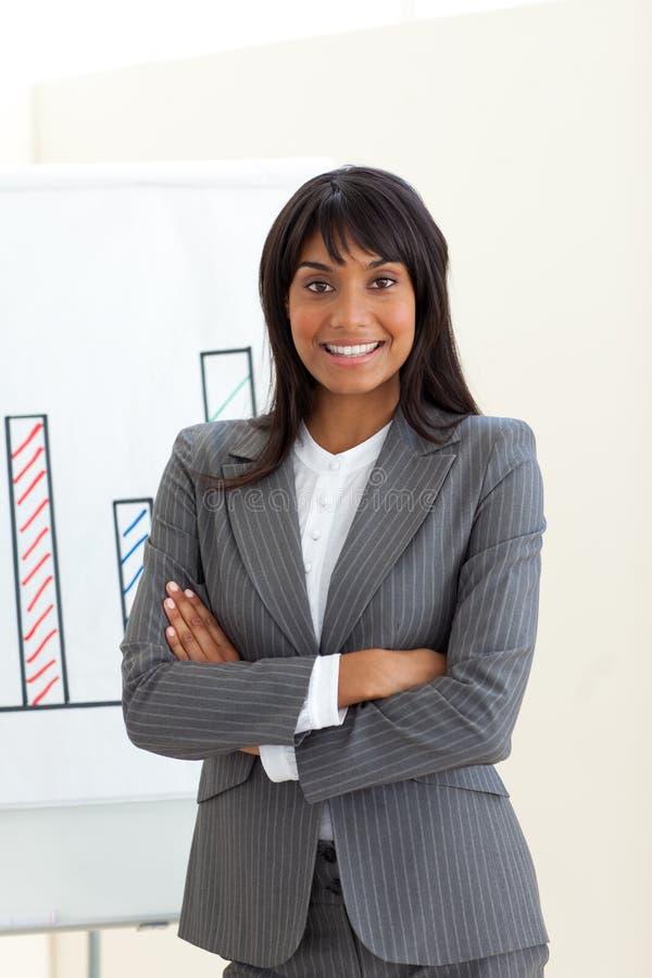 Mulher de negócios étnica com braços dobrados fotos de stock
