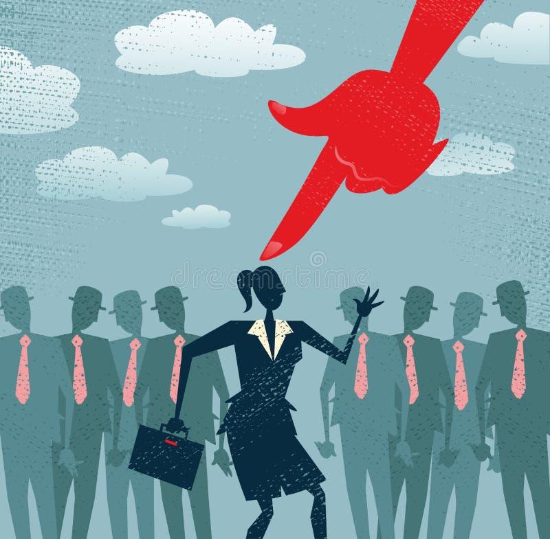 A mulher de negócios abstrata é escolhida e selecionada. ilustração do vetor