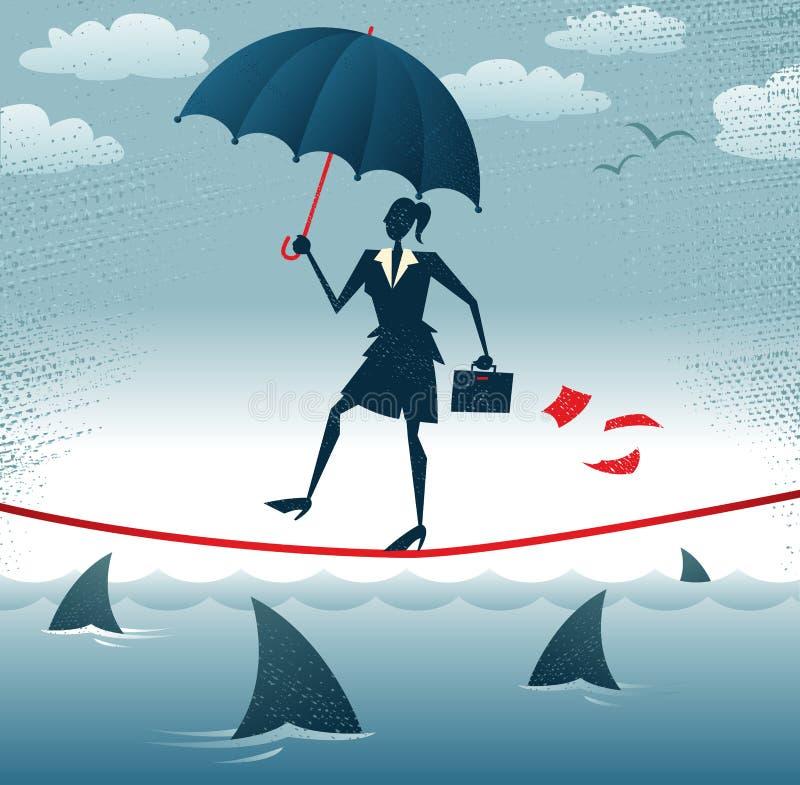 A mulher de negócios abstrata anda corda-bamba com Confid ilustração stock