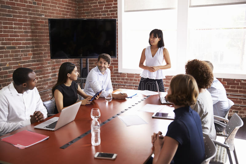 Mulher de negócios Addressing Boardroom Meeting imagens de stock royalty free