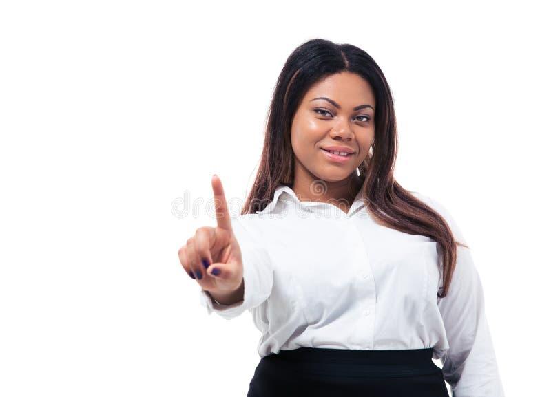 Mulher de negócios africana que mostra um dedo fotografia de stock royalty free
