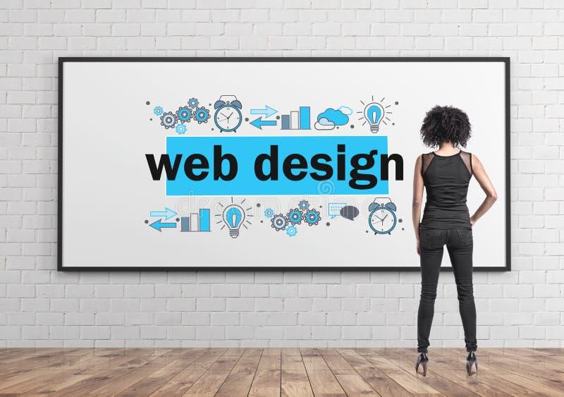 Mulher de negócios afro-americano, design web foto de stock royalty free