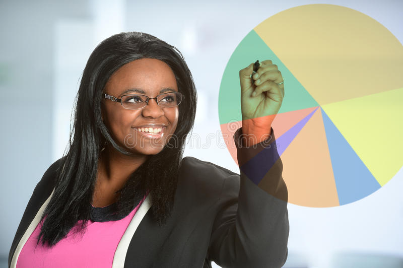 Mulher de negócios afro-americano Doing Presentation fotos de stock royalty free