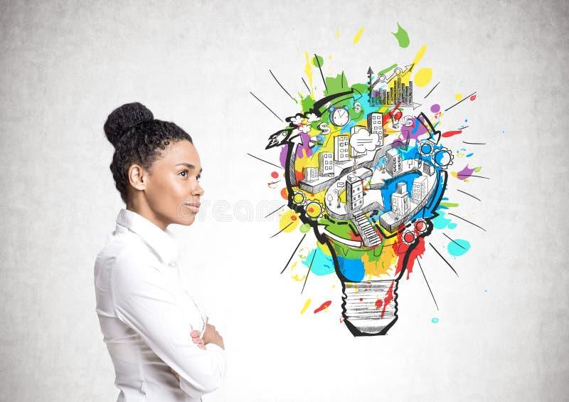 Mulher de negócios afro-americano, ideia do negócio imagem de stock
