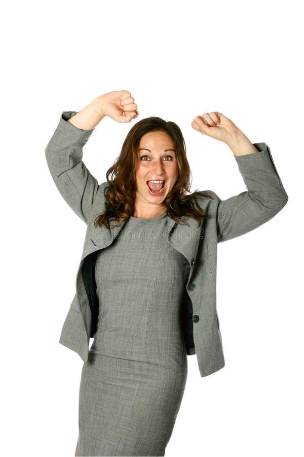 Mulher de negócios, ambos os braços acima imagens de stock