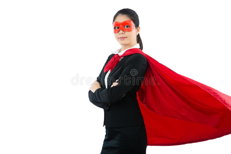 Mulher de negócios amigável vestida como o super-herói imagens de stock