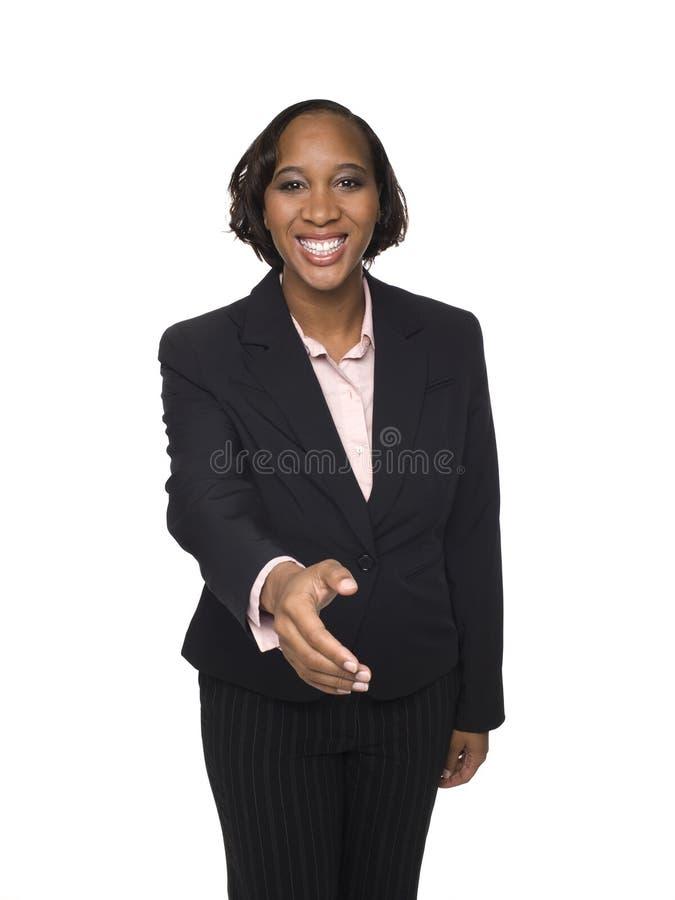 Mulher de negócios - aperto de mão imagens de stock royalty free