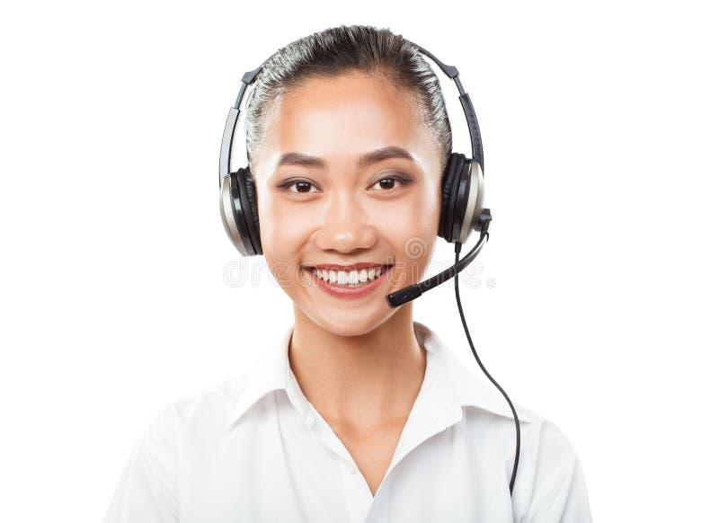Mulher de negócios asiática com auriculares - agente, gerente de vendas fotos de stock royalty free