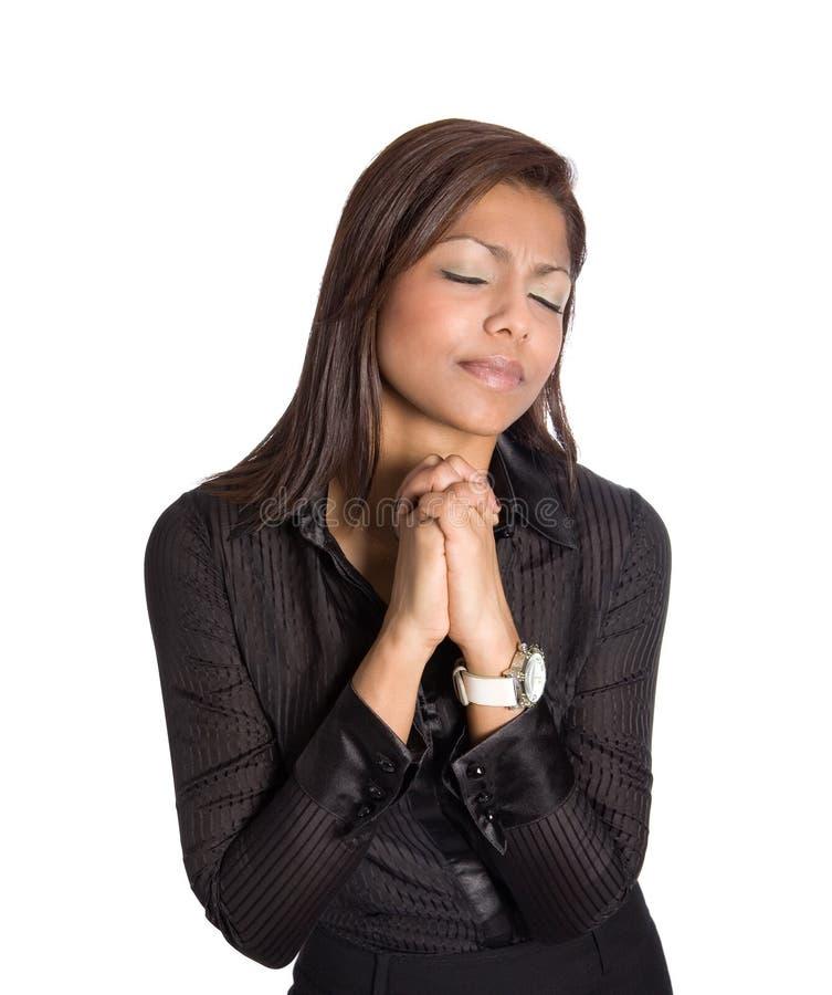 Mulher de negócios asiática no gesto de praying e de hopi imagens de stock royalty free