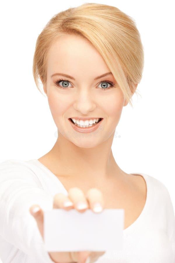 Mulher de negócios atrativa com cartão imagens de stock royalty free