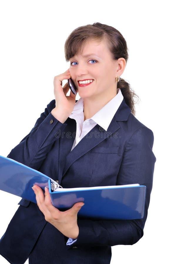 Mulher de negócios atrativa com telemóvel fotografia de stock royalty free