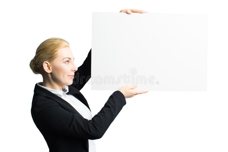 Mulher de negócios atrativa com uma lona vazia fotos de stock royalty free