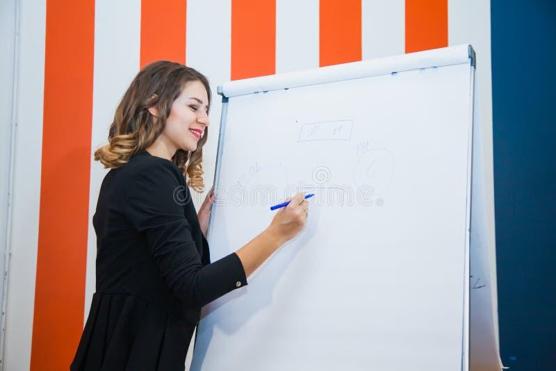 A mulher de negócios atrativa escreve no whiteboard da tela do modelo de papel imagens de stock royalty free