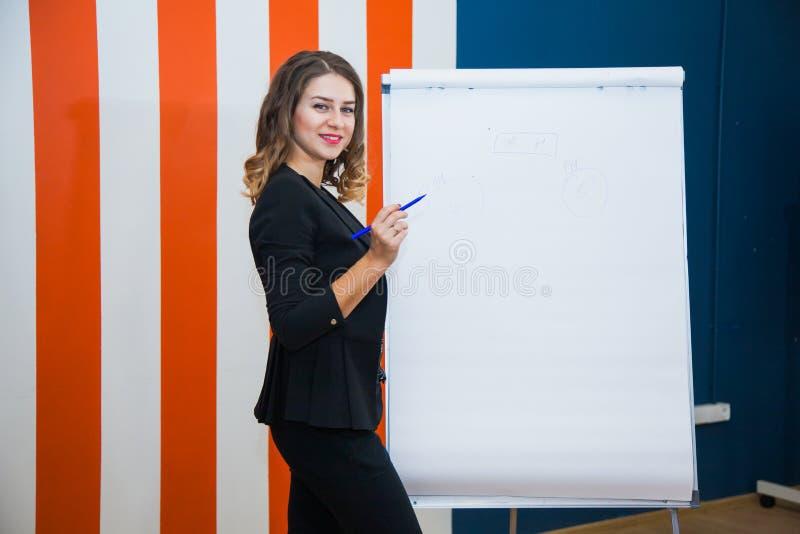 A mulher de negócios atrativa escreve no whiteboard da tela do modelo de papel imagens de stock