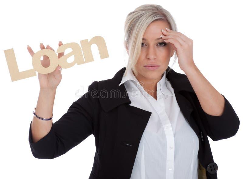 A mulher de negócios bonita é infeliz com empréstimo fotografia de stock