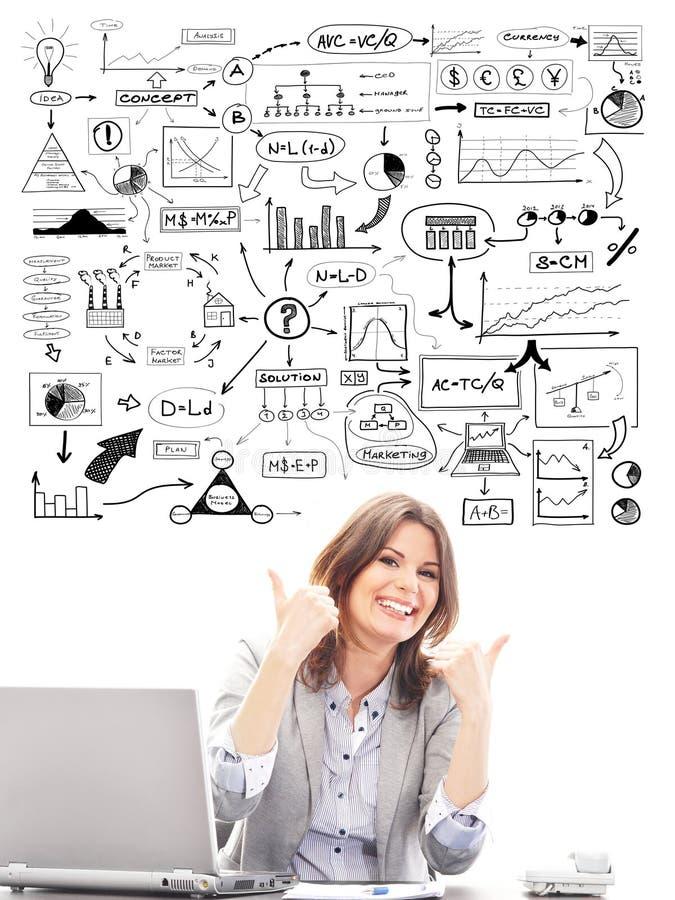 Mulher de negócios bonita com esquemas conceptuais imagens de stock