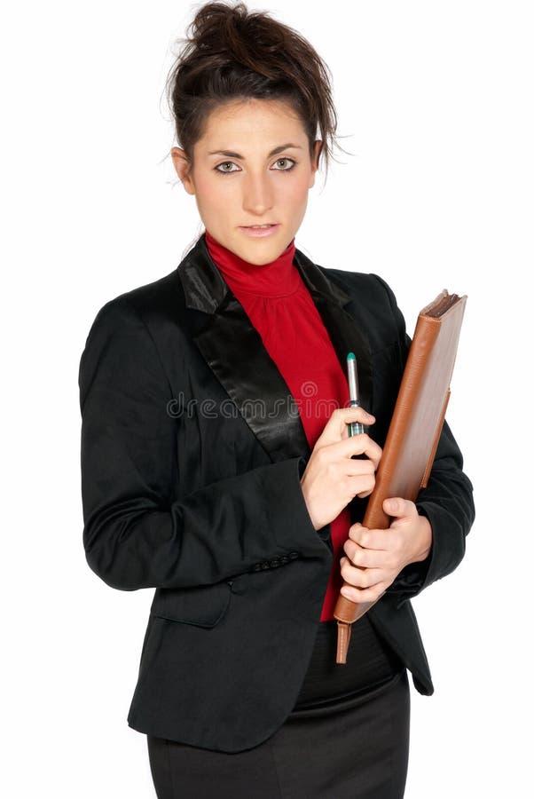Mulher de negócios bonita com a pasta isolada foto de stock