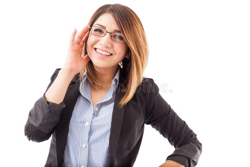 Mulher de negócios bonita com vidros foto de stock royalty free