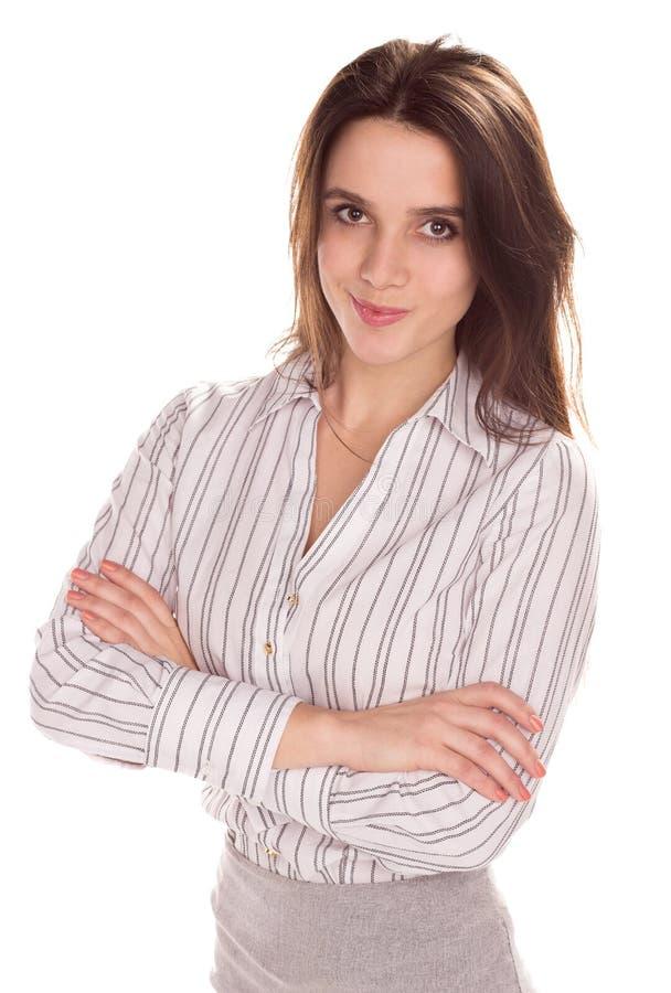 Mulher de negócios bonita nova com o braço dobrado Retrato completo da altura foto de stock