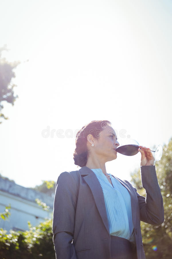 Mulher de negócios bonita que aprecia um vidro do vinho foto de stock royalty free