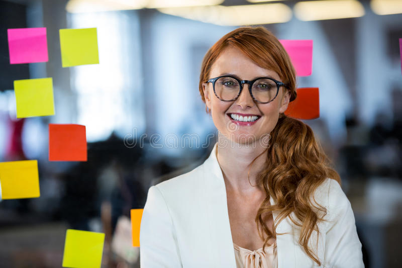 Mulher de negócios bonita vista através do vidro imagens de stock royalty free