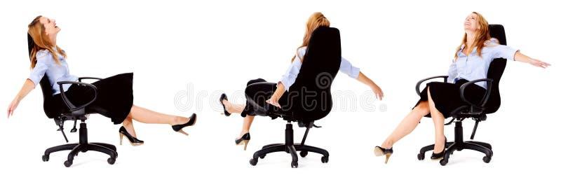 Mulher de negócios brincalhão livre feliz fotos de stock