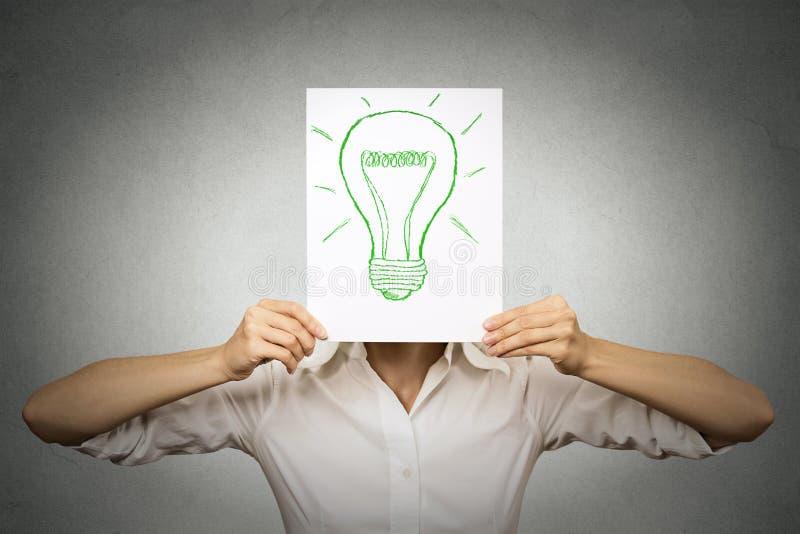 Mulher de negócios com a ampola verde em vez da cabeça foto de stock royalty free