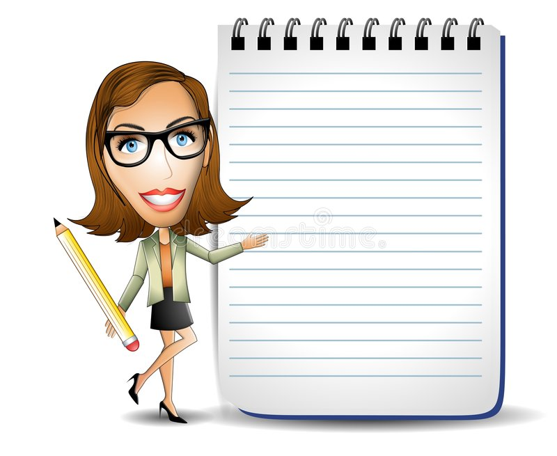 Mulher de negócios com bloco de notas ilustração do vetor