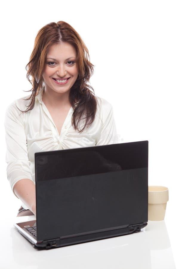 Mulher de negócios com computador portátil fotos de stock